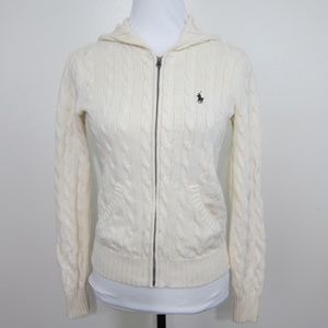 Ralph Lauren Sport Sweater M Ivory Hood Zipper